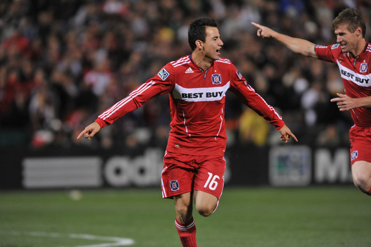 Marco Pappa #16 of Chicago Fire celebrates the game's first and game winning goal against D.C. United at RFK Stadium.