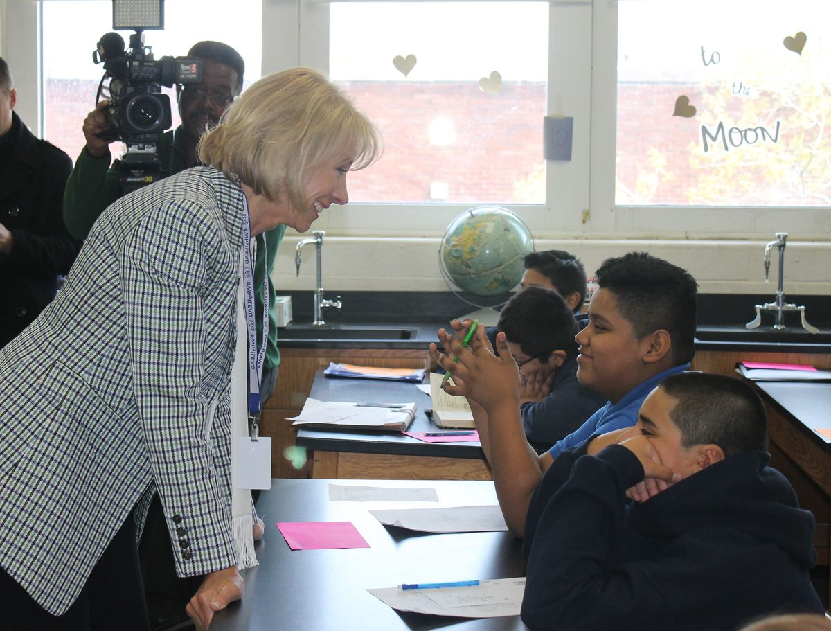 U.S. education chief Betsy DeVos speaks Monday with sixth-graders at LEAD Cameron, a charter school in Nashville.
