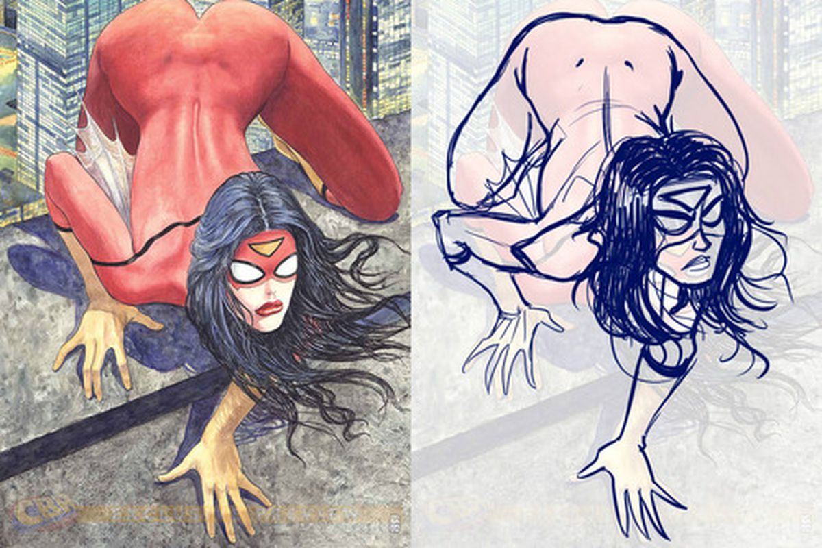 An artistic critique of the new Spider-Woman cover.