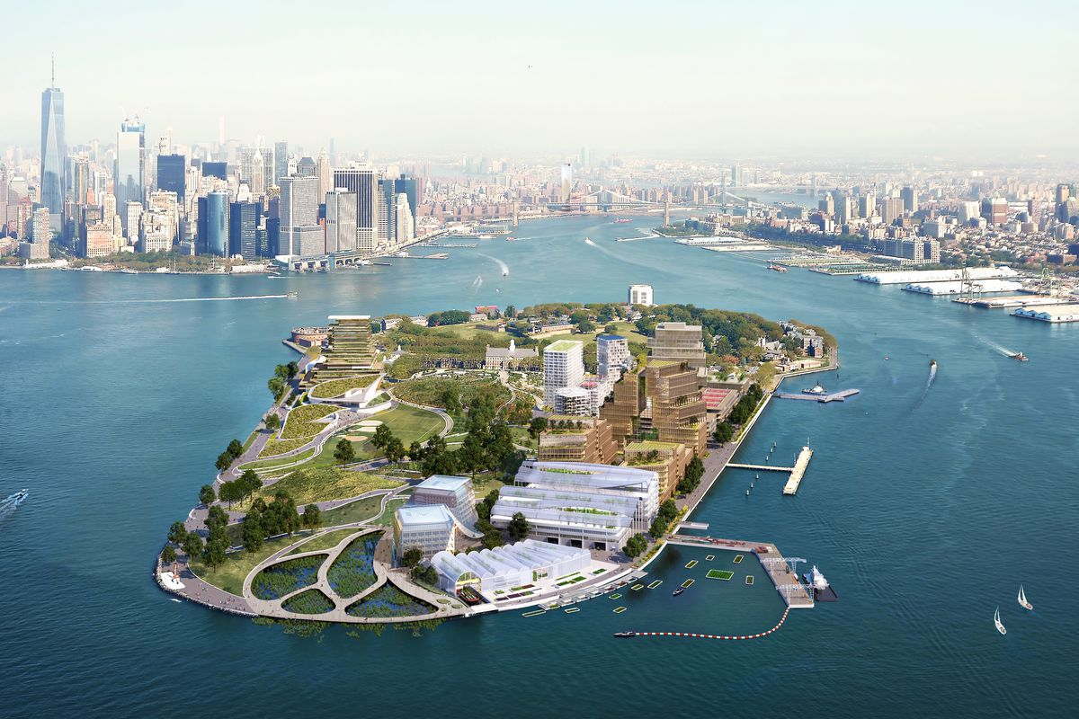 A rendering shows how Governors Island could look after rezoning for a new climate hub proposal.