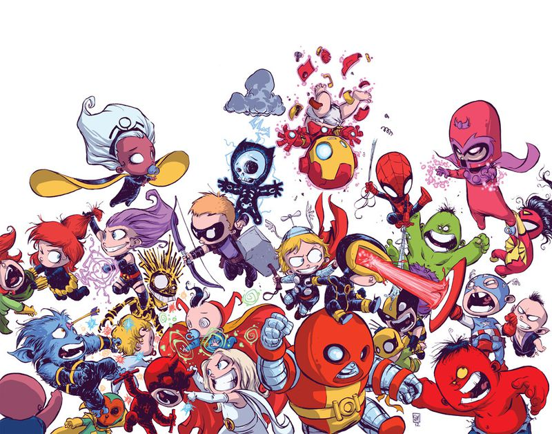 Child versions of the Avengers and the X-Men on the cover of A-Babies vs. X-Babies #1, Marvel Comics, 2012.