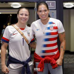 Nina Ansaroff and Amanda Nunes in Team USA jerseys for the Women's World Cup