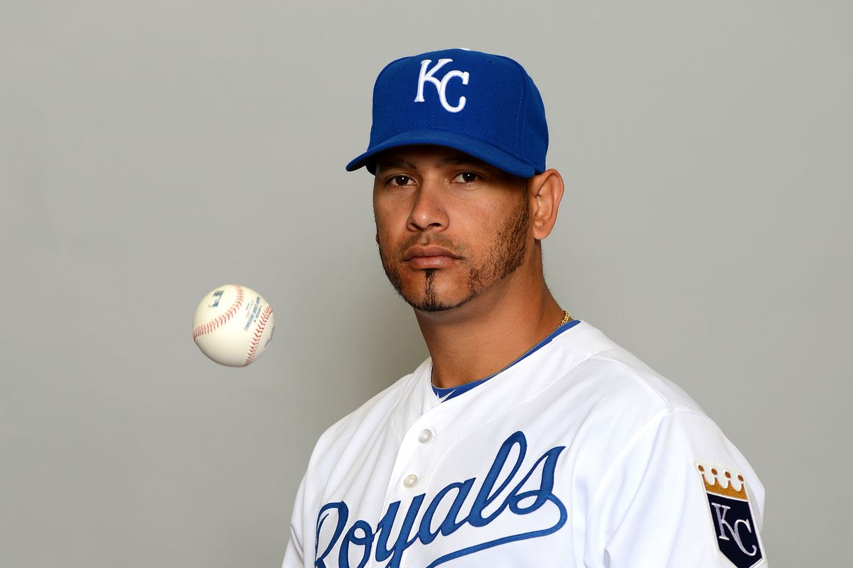 Guillermo Moscoso posing on Photo Day for the Kansas City Royals, who hold their spring training in space apparently.