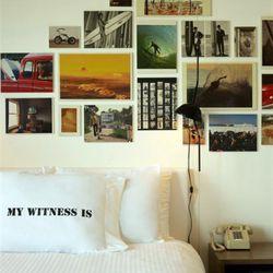 Detail of a guest room at Postcard Inn.