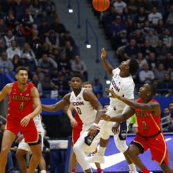 The Arizona Wildcats take on the UConn Huskies in a men's college basketball game at XL Center in Hartford, CT on November 27, 2018