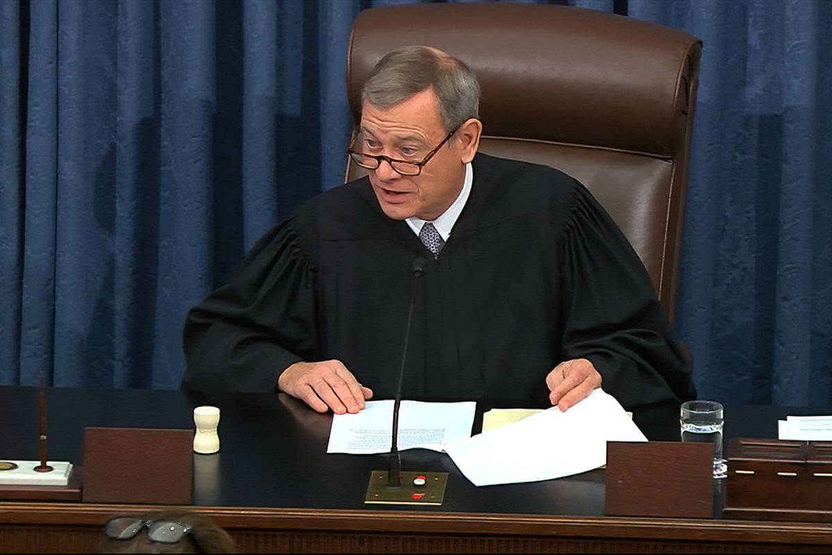In this Feb. 3, 2020 file image from video, presiding officer Chief Justice of the United States John Roberts speaks as closing arguments in the impeachment trial against President Donald Trump begin in the Senate at the U.S. Capitol in Washington.