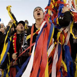Fans cheer at the start between Real Sal Lake and CF Monterrey at Rio Tinto Stadium in Sandy on  Wednesday, April 27, 2011.