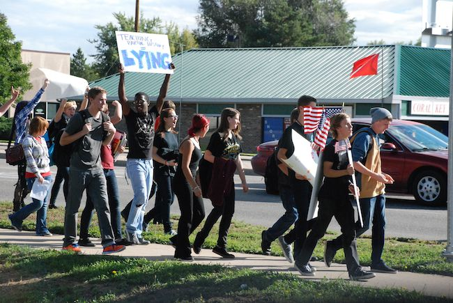 Arvada High School students rallied along Wadsworth Boulevard Tuesday morning. They're upset over a proposed curriculum review committee.