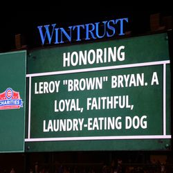 8:57 p.m. Personal message on the left field video board, between innings -