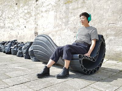 This street bench was made by 3D-printing recycled plastic