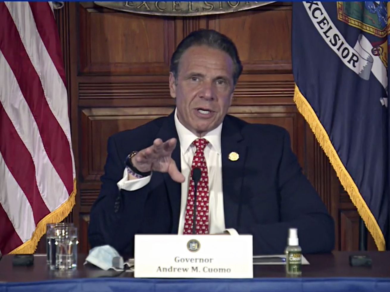 In this image taken from video from the Office of the N.Y. Governor, New York Gov. Andrew Cuomo speaks during a news conference about the state budget, Wednesday, April 7, 2021, in Albany, N.Y.
