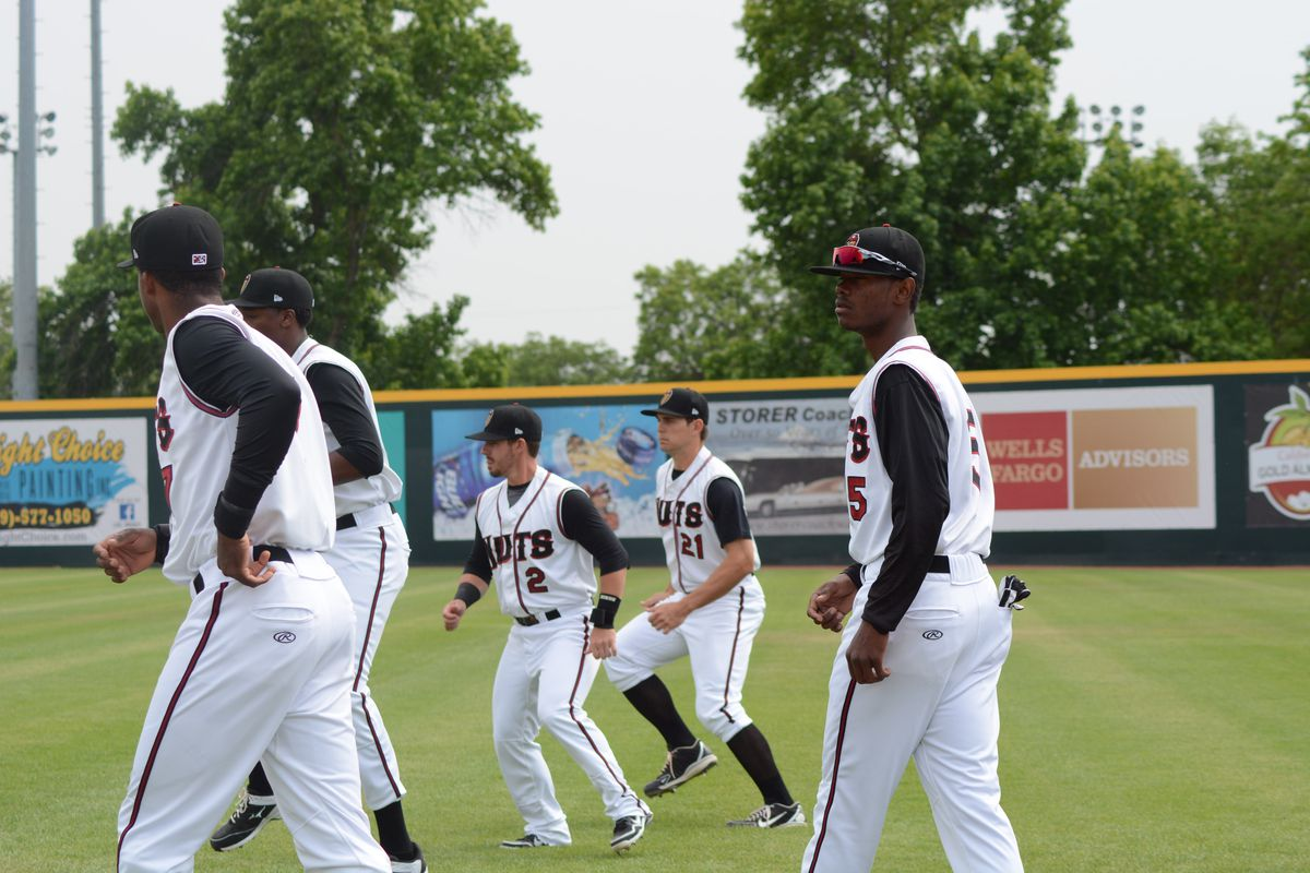 The Nuts warm up prior to their final game on the first homestand.