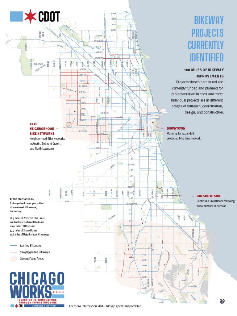 A map of planned bike lanes and bikeway improvements in Chicago during 2021 and 2022.
