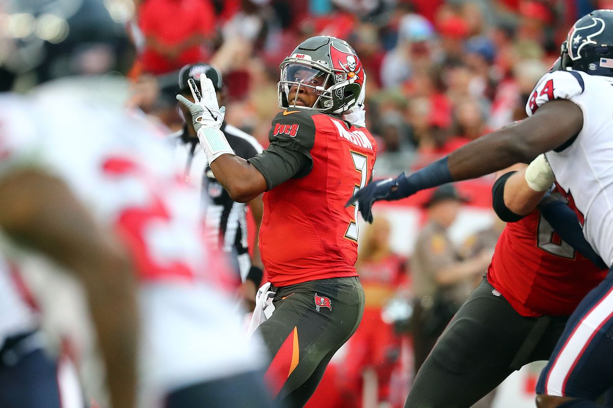 Tampa Bay Buccaneers quarterback Jameis Winston throws the ball against the Houston Texans during the second half at Raymond James Stadium.