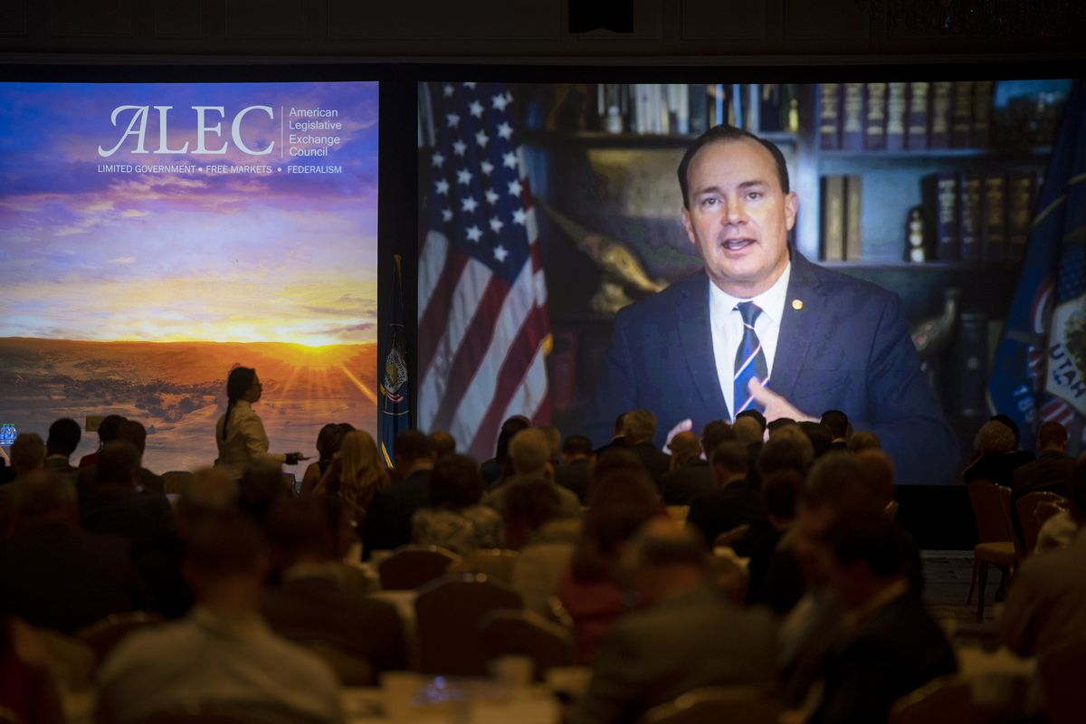Utah Sen. Mike Lee speaks at the American Legislative Exchange Council (ALEC) breakfast session via Zoom as the group gathers at the Grand America Hotel in Salt Lake City on Friday, July 30, 2021.