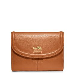 "<a href=""http://www.coach.com/online/handbags/ProductDetailWrapperView?storeId=10551&catalogId=10051&langId=-1&partNumber=46608&cid=D_B_RAC_2953"">Madison Leather Medium Wallet</a> in cognac, $138"