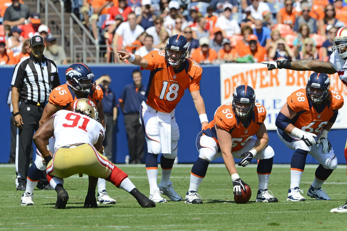 August 26 2012; Denver, CO, USA; Denver Broncos quarterback Peyton Manning (18) calls a play during the first quarter of a preseason game game against the San Francisco 49ers at Sports Authority Field. Mandatory Credit: Ron Chenoy-US PRESSWIRE