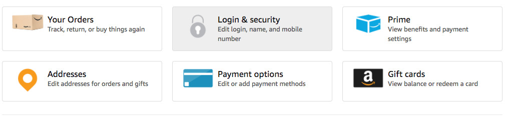 """Start with Amazon's """"Login & security"""" section."""