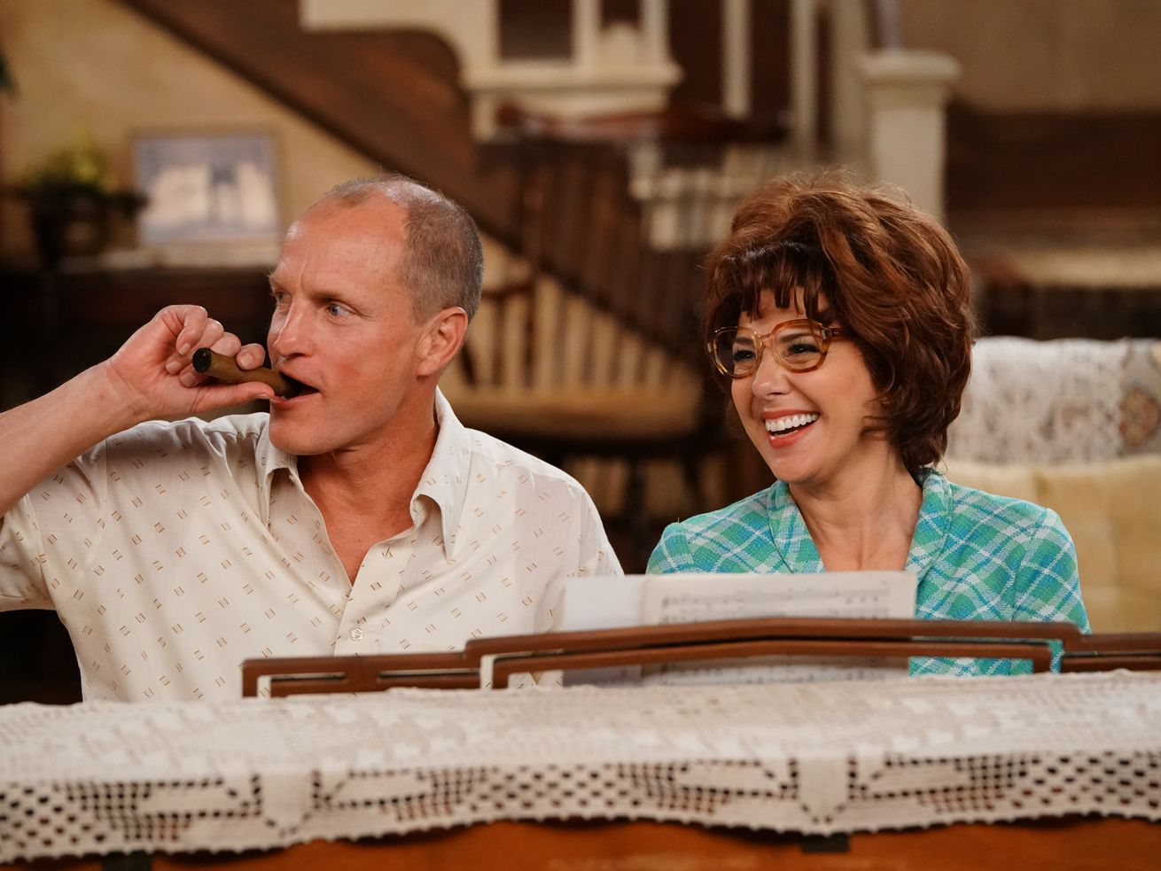 Woody Harrelson and Marisa Tomei step into the iconic roles of Archie and Edith Bunker.