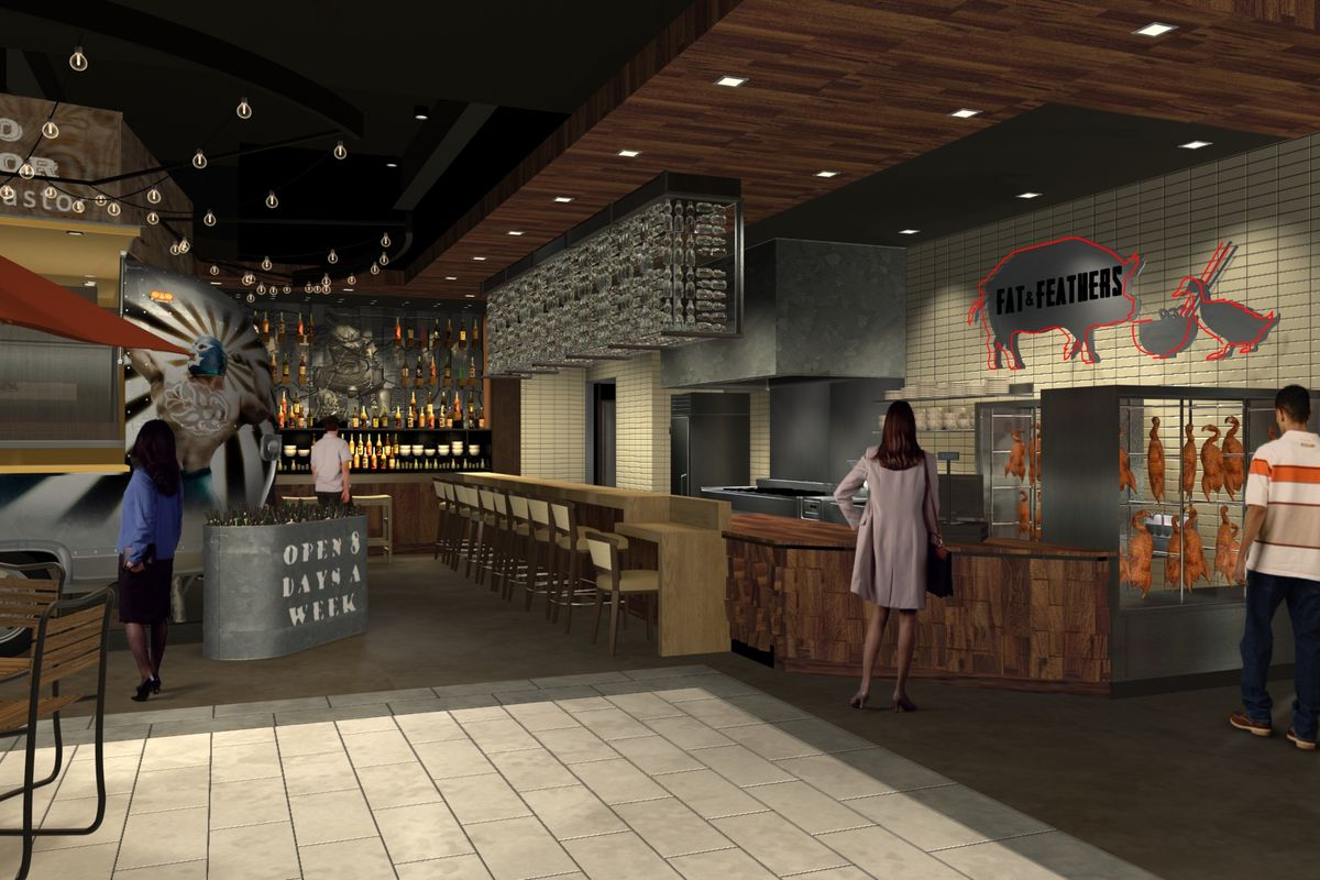 A Lincoln South Food Hall Rendering Focused On Fat And Feathers Which Will Serve Bao Sandwiches Ramen Courtesy Of