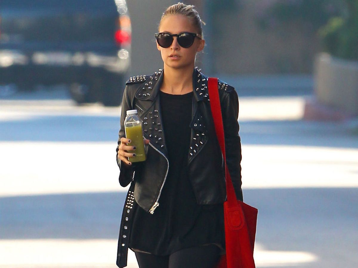 Nicole Richie leaving the gym in a Simone studded jacket. Photo via Miguel/Flynetpictures.com.