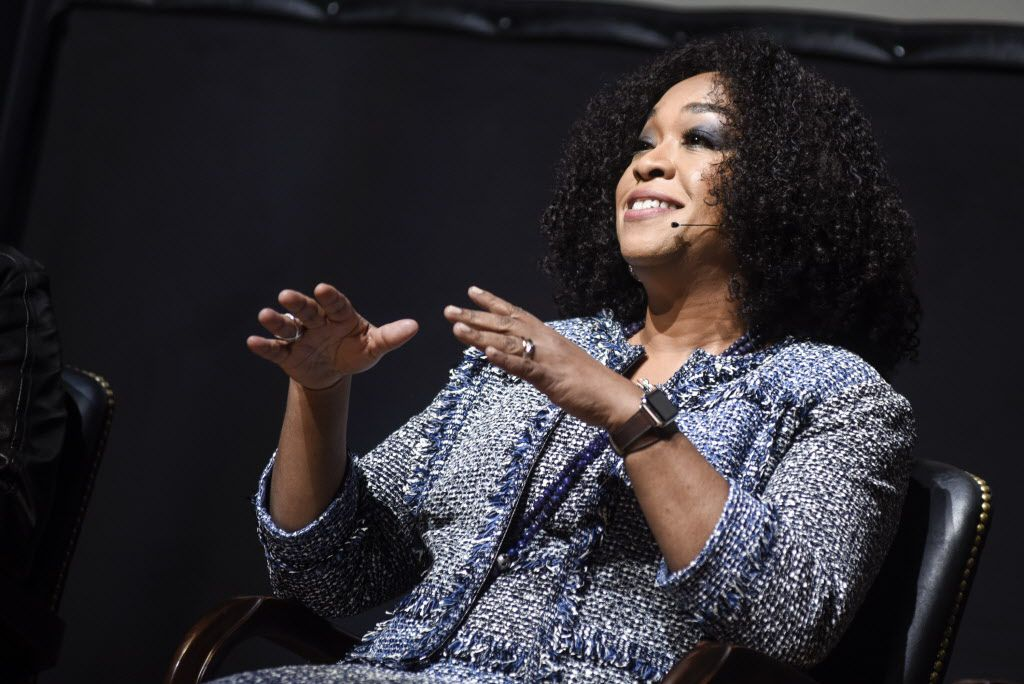 """Producer Shonda Rhimes speaks during the """"Scandal-ous!"""" event hosted by the Smithsonian Associates at the University of District of Columbia Theater of the Arts on April 28, 2016 in Washington, DC. 