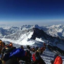 A panoramic view from the summit of Mount Everest on May 19.
