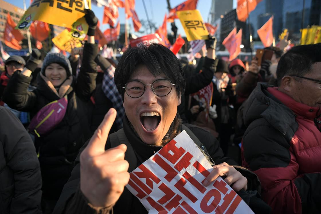Victorious protester in South Korea