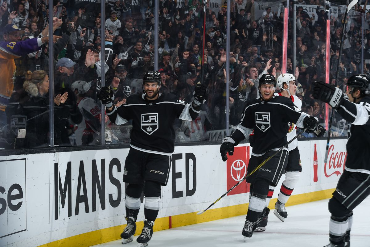 Martin Frk #29 of the Los Angeles Kings celebrates his goal with Gabriel Vilardi #42 and Trevor Moore #12 during the third period against the Ottawa Senators at STAPLES Center on March 11, 2020 in Los Angeles, California.