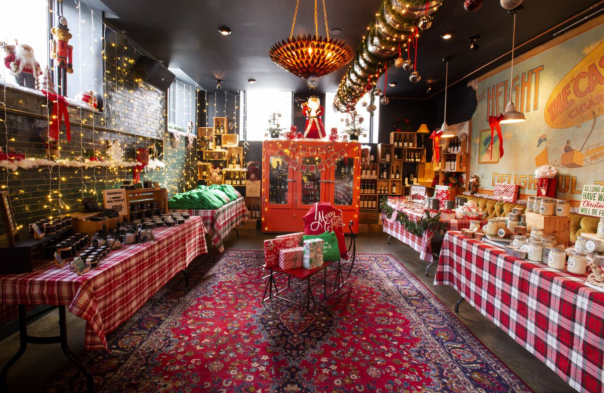 A room completely covered in Christmas decor