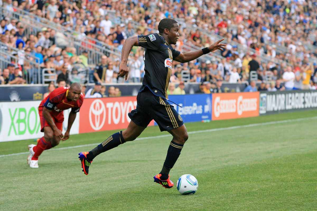 CHESTER, PA - JUNE 11: Forward Danny Mwanga #10 of the Philadelphia Union in action during a game against Real Salt Lake at PPL Park on June 11, 2011 in Chester, Pennsylvania. The game ended 1-1. (Photo by Hunter Martin/Getty Images)