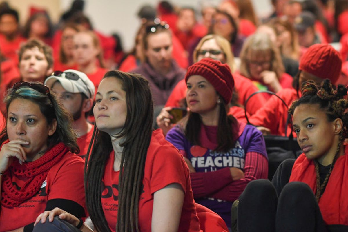 Educators and their supporters pack the room during the third day