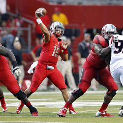 Rutgers quarterback Gary Nova (15) throws during the first half of an NCAA college football game against Howard at Highpoint Solutions stadium Saturday, Sept. 8, 2012, in Piscataway, N.J.