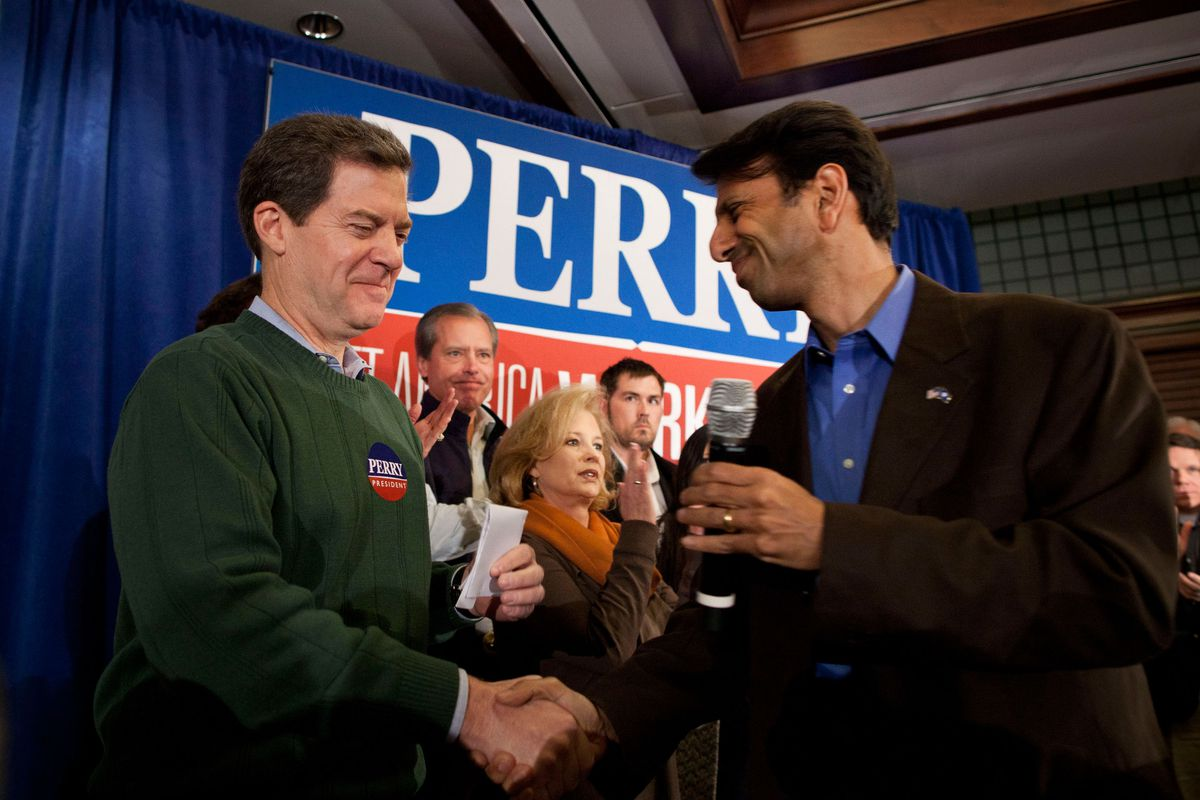Sam Brownback (left) and Bobby Jindal's endorsement of Rick Perry's 2012 presidential campaign went about as well as their tax cuts.