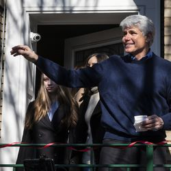 Former Illinois Gov. Rod Blagojevich greets supporters before speaking at a news conference outside the family's Ravenswood Manor home the day after he was released from a Colorado prison, Wednesday afternoon, Feb. 19, 2020. President Donald Trump on Tuesday commuted Blagojevich's 14-year prison sentence on charges of public corruption.