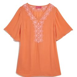 Embroidered tunic in orange, $30, XS-XXL, 1X-3X (plus-size online only)