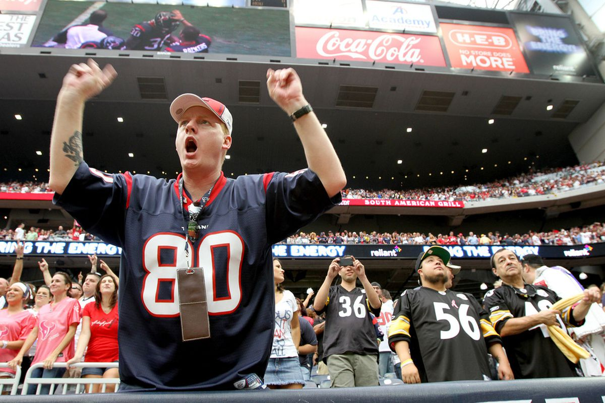 HOUSTON, TX - OCTOBER 02: A fan cheers for the Houston Texans against the Pittsburgh Steelers on October 2, 2011 at Reliant Stadium in Houston, Texas.Texans won 17 to 10. (Photo by Thomas B. Shea/Getty Images)