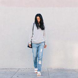 "Ann of <a href=""http://www.andyheart.com""target=""_blank"">Andy Heart</a> is wearing an Everlane sweater, <a href=""http://shop.nordstrom.com/s/frame-denim-le-garcon-boyfriend-jeans-beek-street/3692263?cm_cat=datafeed&cm_ite=frame_denim_'le_garcon'_boyfrie"