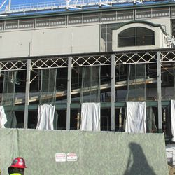 Wed 12/16: Newly sheathed girders along the west front -