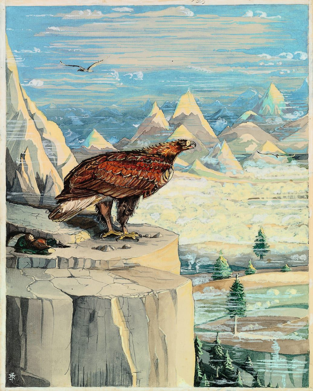 A giant eagle roosts on a mountaintop, with Bilbo Baggins reclining nearby.