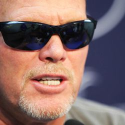 Jim McMahon speaks to the media prior to the game in Provo Friday, Oct. 3, 2014. McMahon will have his jersey retired at halftime.