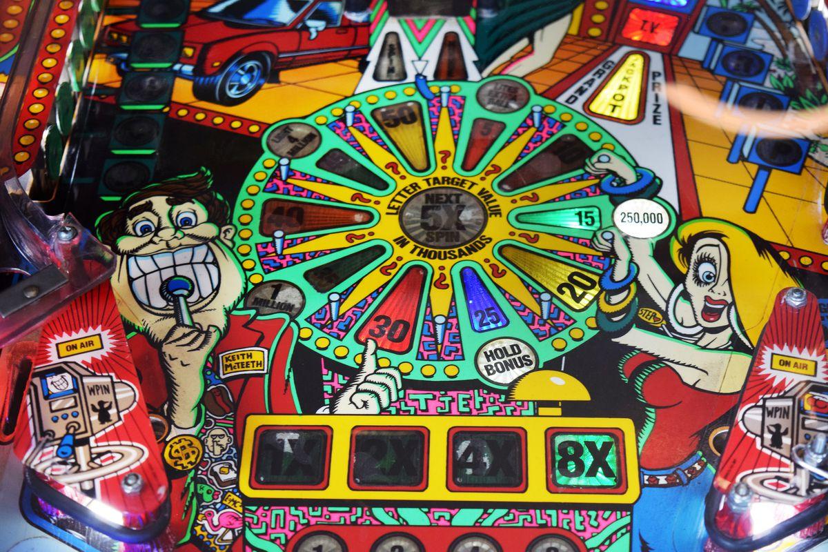 Close-up photo of a vintage pinball machine