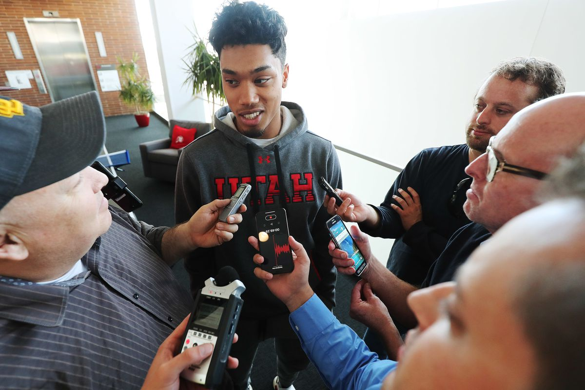 Utah Utes guard Sedrick Barefield (0) talks with reporters during media day in Salt Lake City on Wednesday, Sept. 26, 2018.