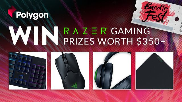 """a promotional image for Polygon and Fanatical's giveaway that reads """"Win Razer gaming prizes worth $350+"""""""