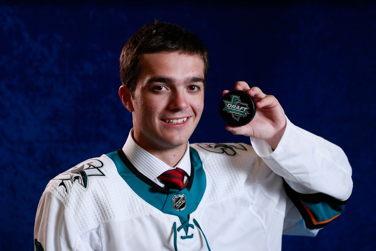 Ryan Merkley poses for a portrait after being selected twenty-first overall by the San Jose Sharks during the first round of the 2018 NHL Draft at American Airlines Center on June 22, 2018 in Dallas, Texas.