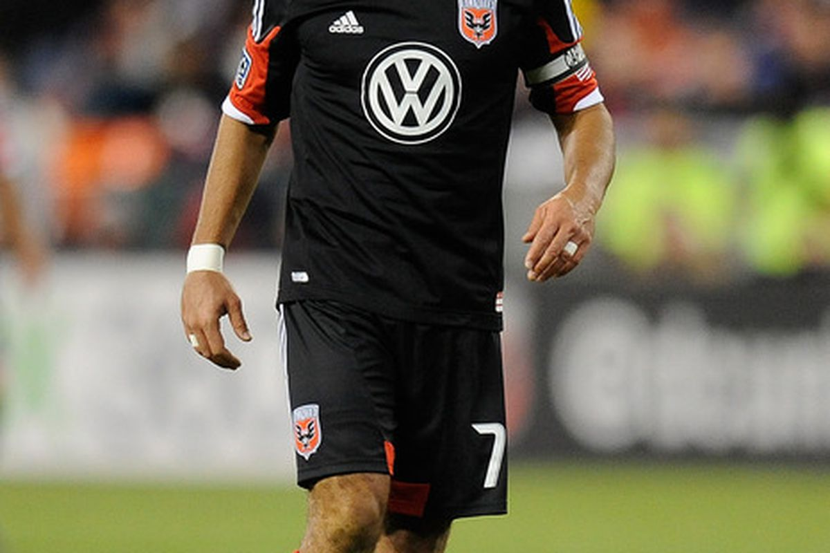 WASHINGTON, DC - MARCH 10:  Dwayne De Rosario #7 of D.C. United reacts during a game against the Sporting Kansas City at RFK Stadium on March 10, 2012 in Washington, DC.  (Photo by Patrick McDermott/Getty Images)