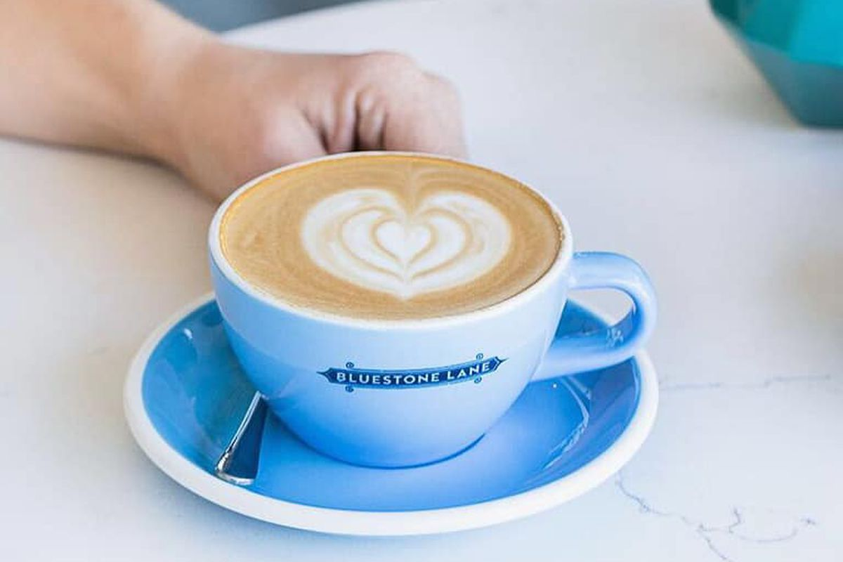 A flat white from Bluestone Cafe