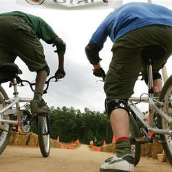 Boys Scouts try out the BMX course at the National Scout Jamboree at Fort AP Hill in Virginia Tuesday. Scouts from Utah are attending the event.