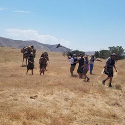 Actors portraying Nephi and his brothers crossing the wilderness outside of Jerusalem, as told in the Book of Mormon, are filmed at the LDS Motion Picture Studio's Goshen campus near Elberta, Utah County. Filming is being done for a six-year Book of Mormon Visual Library project.