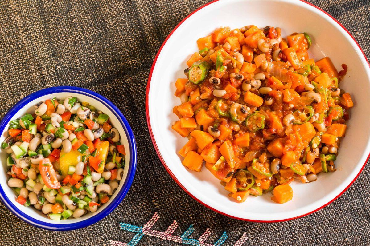 Black-eyed peas salad and sweet potato and black-eyed pea stew at Teranga